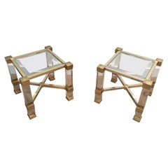 Pierre Vandel. Pair of Lucite and Gold Gilt Side Tables. French. Cir