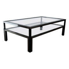 Pierre Vandel Paris Black and Gold Hollywood Regency Coffee Table