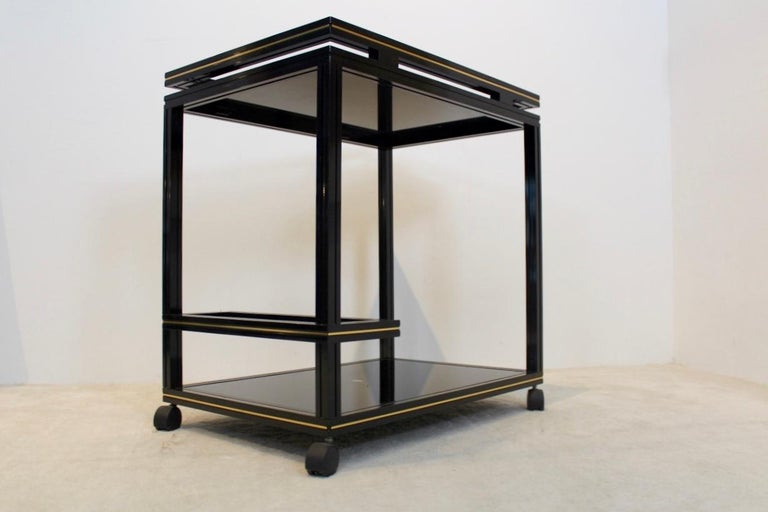 Hollywood Regency Pierre Vandel Paris Black and Gold French Barcart, 1970s For Sale