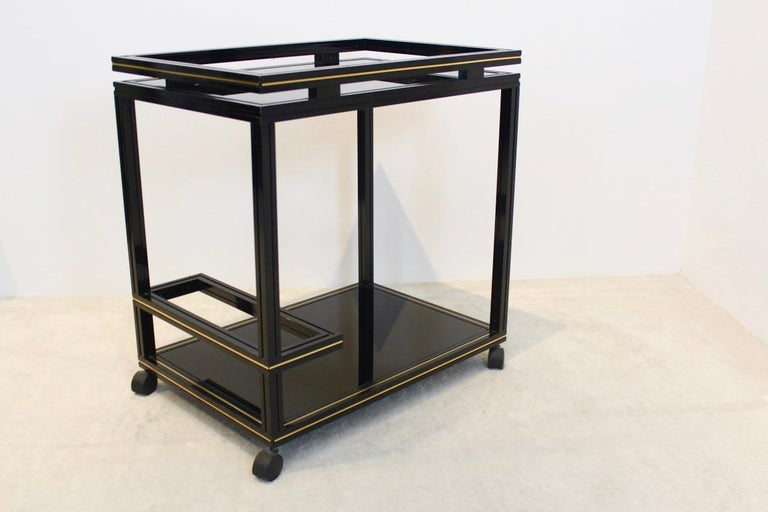 Aluminum Pierre Vandel Paris Black and Gold French Barcart, 1970s For Sale