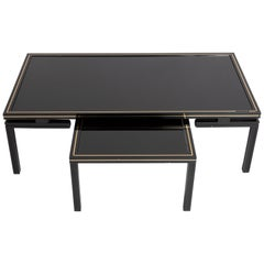 Pierre Vandel Paris Black Lacquer Coffee Table with Nesting Table, France