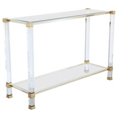 Pierre Vandel Paris Lucite and Brass Console Table, France, 1970