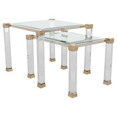 Pierre Vandel Paris Lucite and Brass Nesting Tables, France, 1970