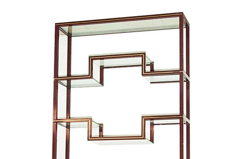 Mid-Century Modern Pierre Vandel, Shelves Units, in Velvet Lacquered Metal and Glass, France, 1970 For Sale