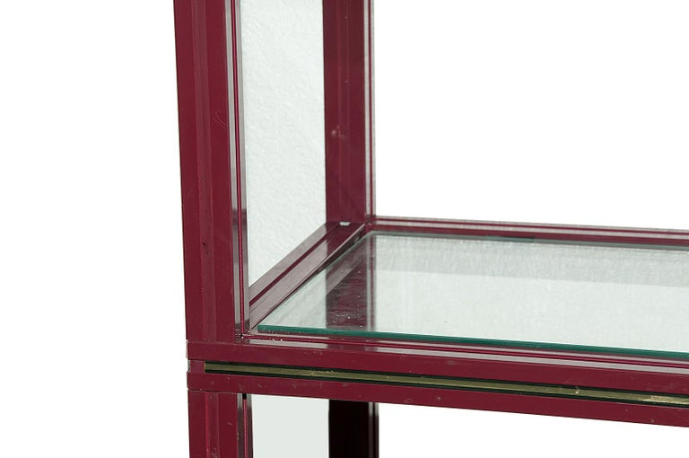 Late 20th Century Pierre Vandel, Shelves Units, in Velvet Lacquered Metal and Glass, France, 1970 For Sale