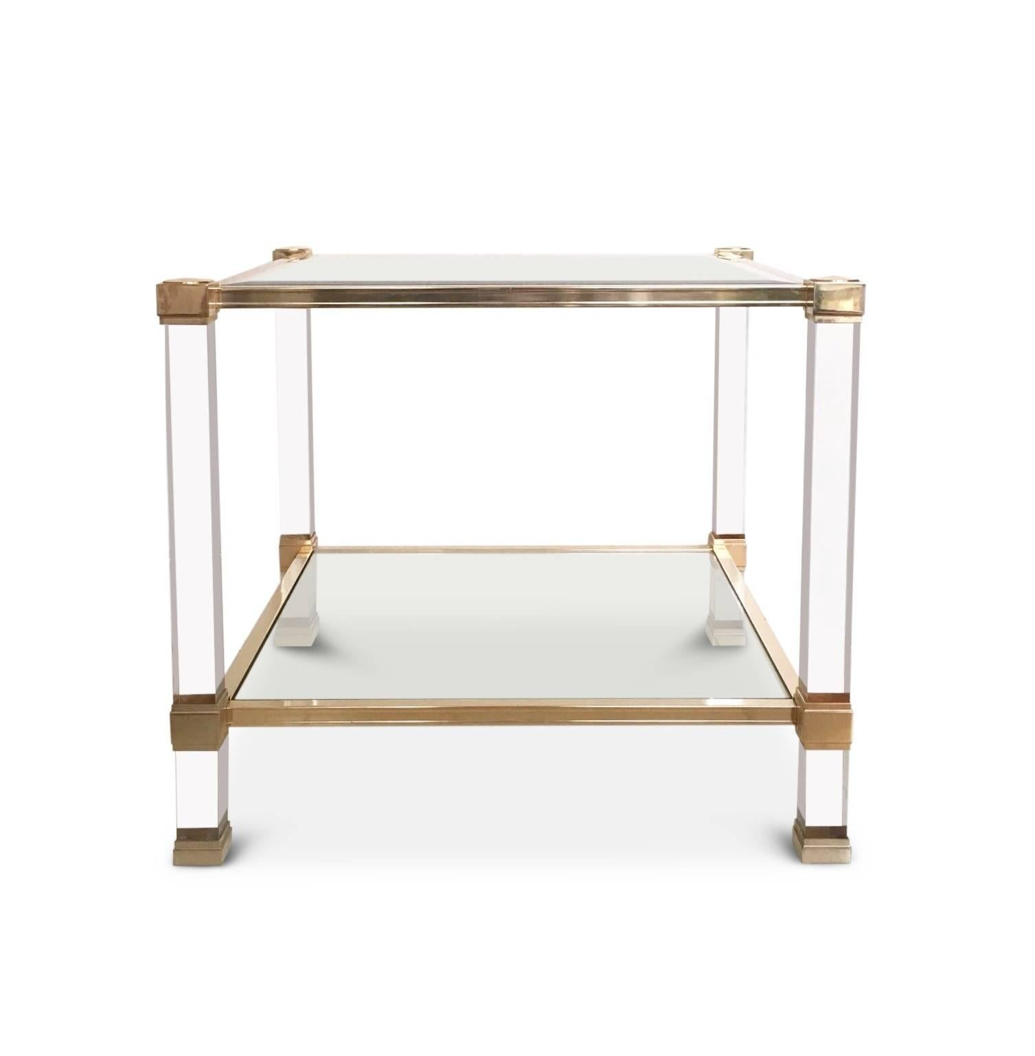Pierre Vandel, Square Lucite And Glass Coffee Table, Side Table,