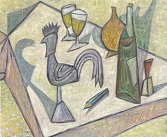 SIGNED FRENCH CUBIST STILL LIFE OIL PAINTING - KITCHEN TABLE TOP WINE & BOTTLES