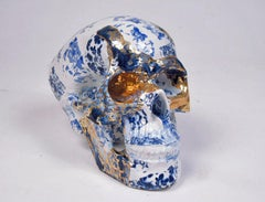 Blue and Gold Floral Skull - contemporary ceramic sculpture