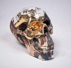 Camouflage Skull - contemporary ceramic sculpture