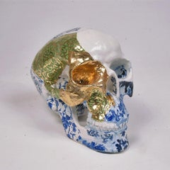 White Green and Blue Skull - contemporary ceramic sculpture