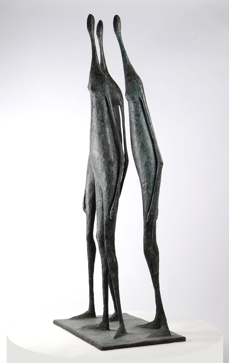 3 Large Standing Figures I - Bronze Group of Three Figures - Sculpture by Pierre Yermia