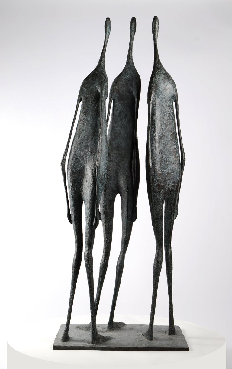 3 Large Standing Figures I - Bronze Group of Three Figures - Contemporary Sculpture by Pierre Yermia