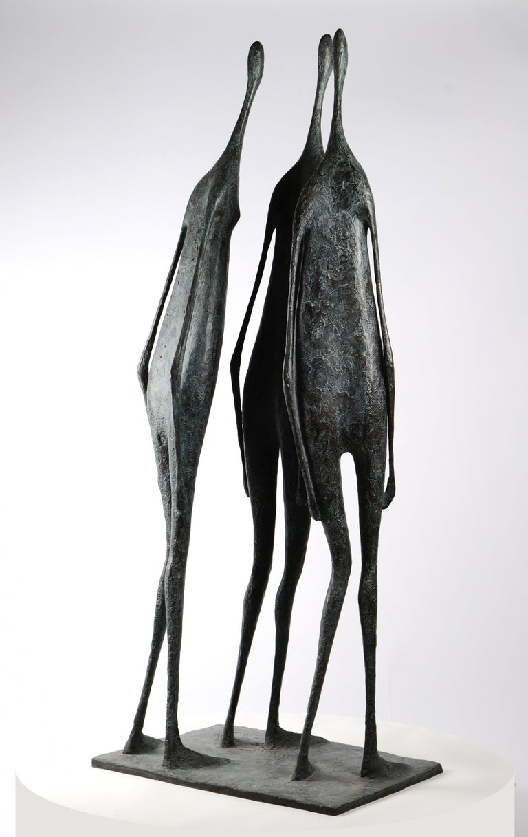 3 Large Standing Figures I - Bronze Group of Three Figures - Gold Figurative Sculpture by Pierre Yermia