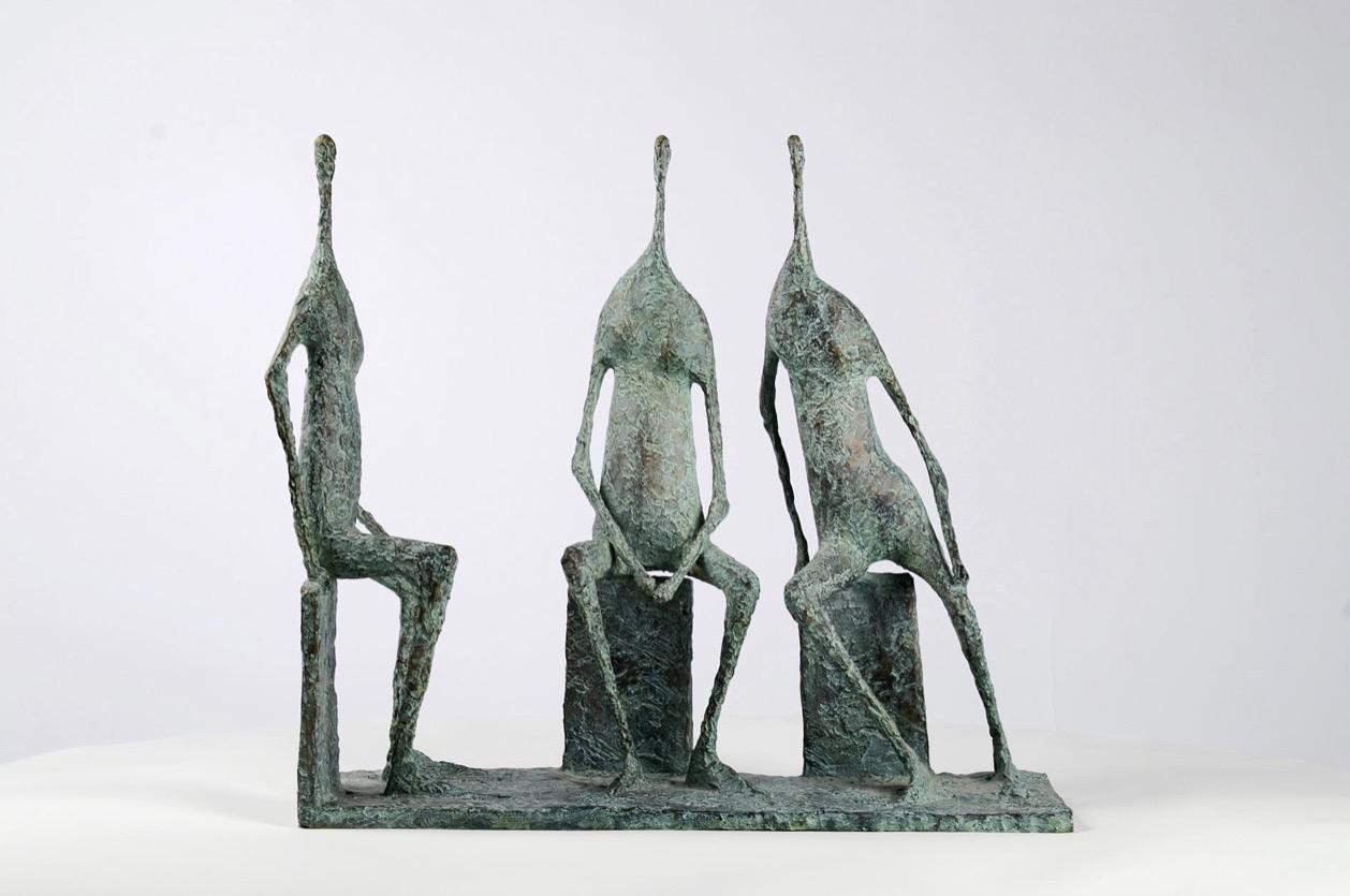 3 Seated Figures I -  Bronze Group of Three Figures