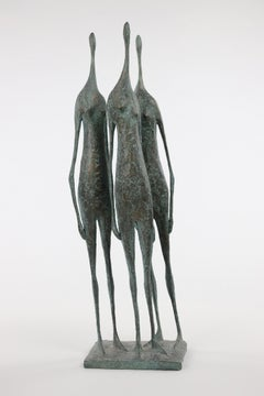 3 Standing Figures V - Bronze Group of Three Figures