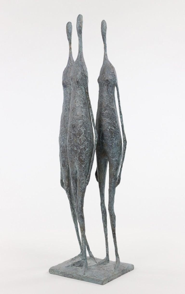 3 Standing Figures VI - Bronze Group of Three Figures - Sculpture by Pierre Yermia
