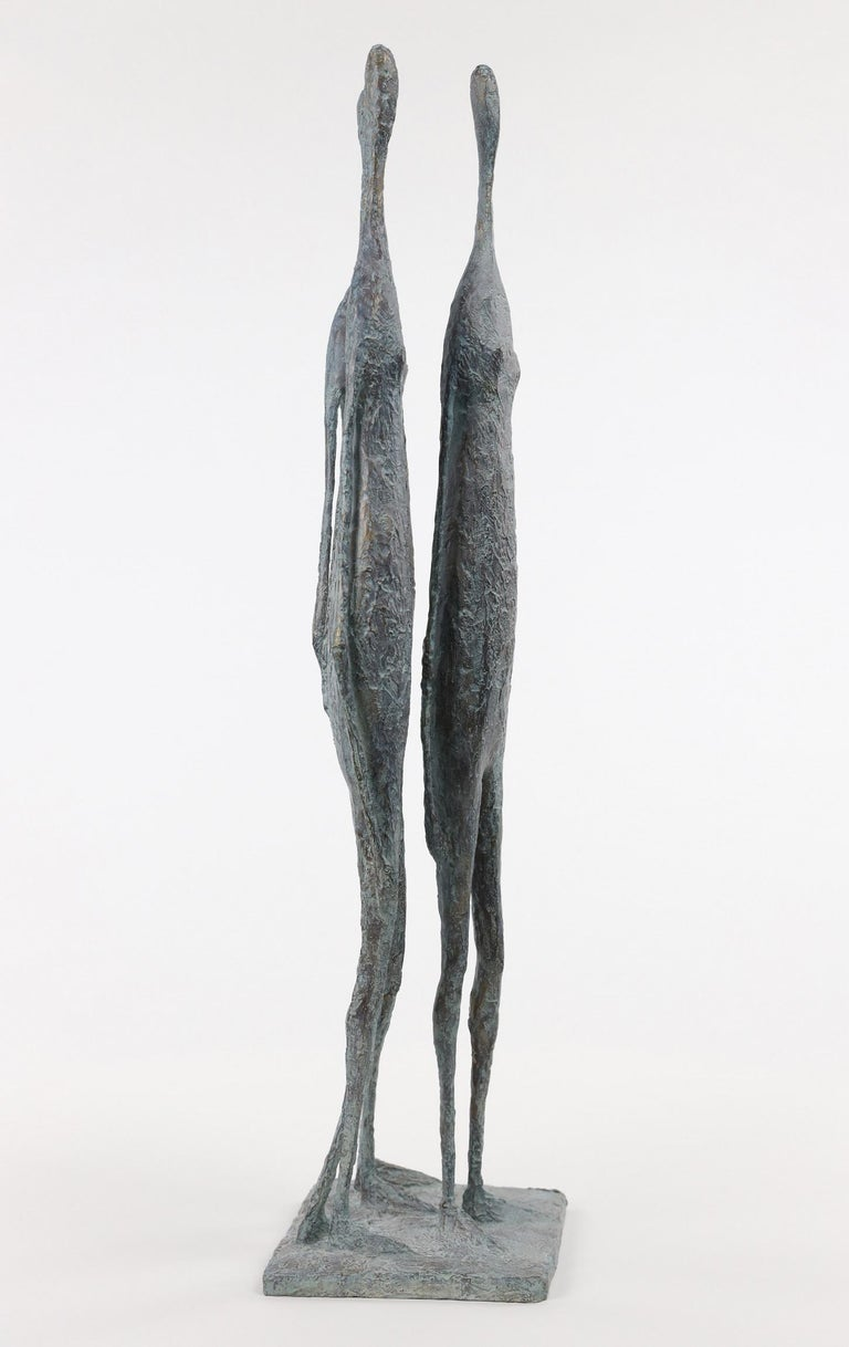 3 Standing Figures VI - Bronze Group of Three Figures - Gold Figurative Sculpture by Pierre Yermia