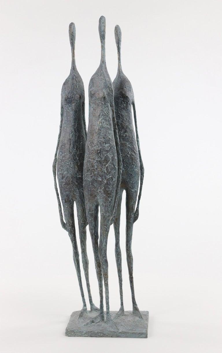 Pierre Yermia Figurative Sculpture - 3 Standing Figures VI - Bronze Group of Three Figures