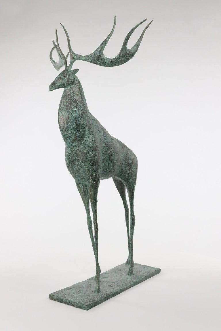 Deer II - Contemporary Animal Sculpture - Gold Figurative Sculpture by Pierre Yermia