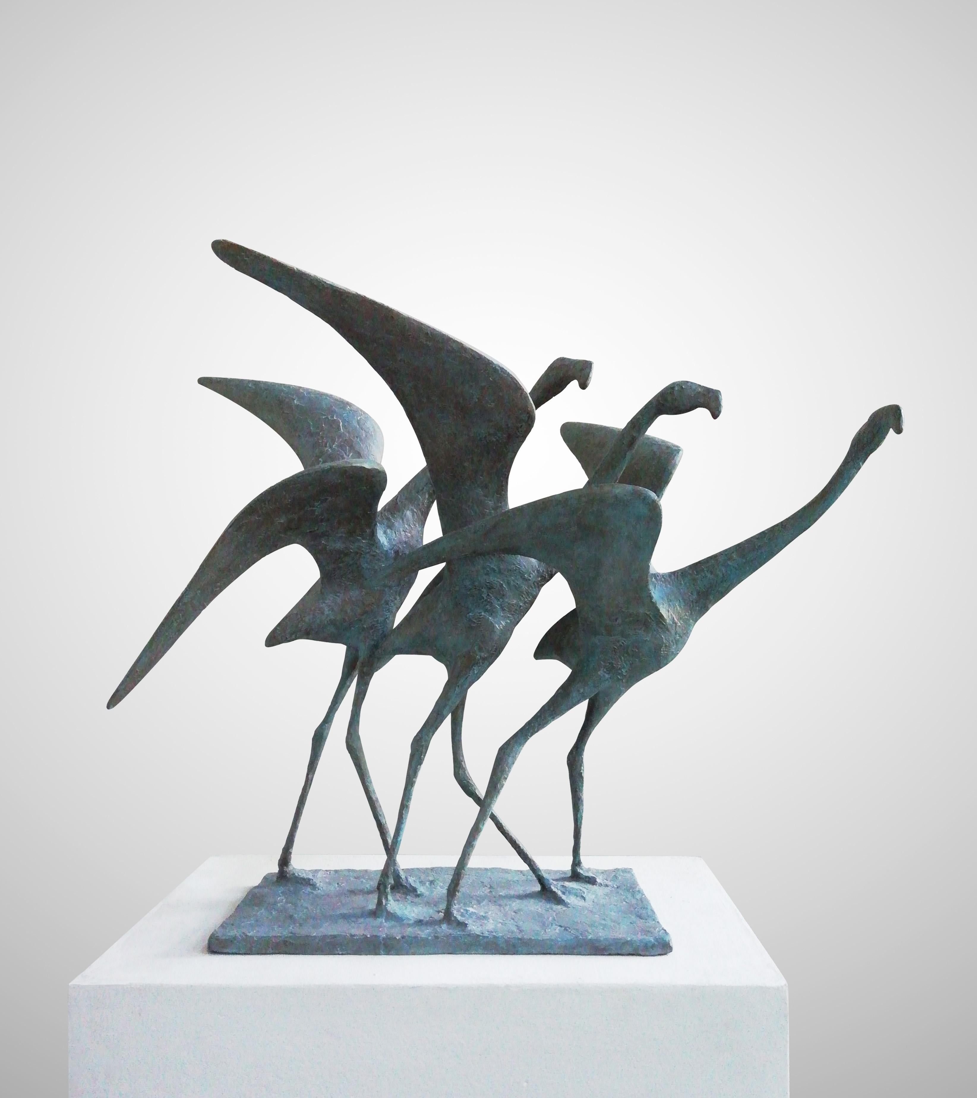 Envolée II - contemporary bronze sculpture of birds taking flight