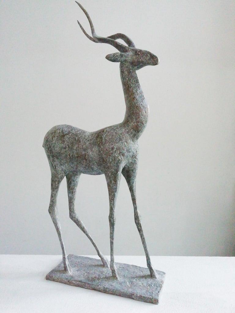 Gazelle IV, Animal Bronze Sculpture - Gold Figurative Sculpture by Pierre Yermia
