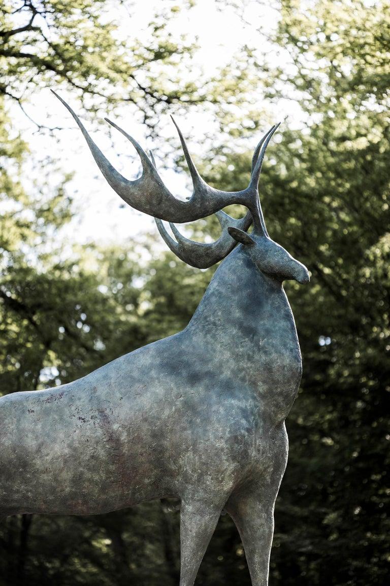 Great Deer - Large Animal Bronze Sculpture For Sale 1
