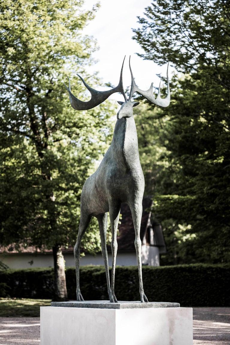 Great Deer - Large Animal Bronze Sculpture For Sale 2