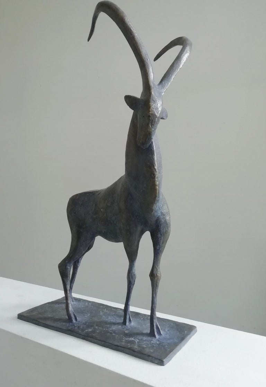 Ibex, Animal Bronze Sculpture - Gold Figurative Sculpture by Pierre Yermia