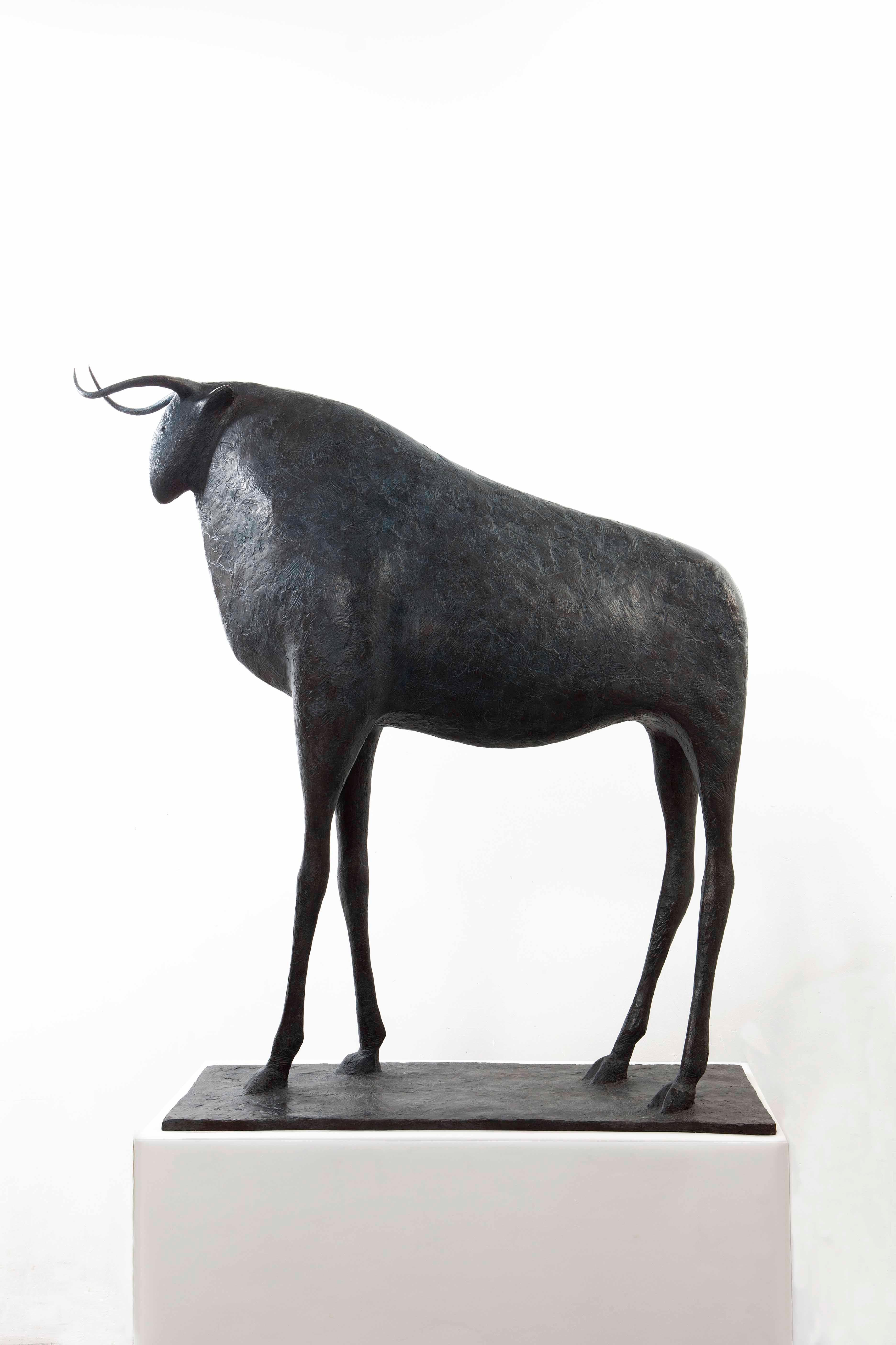 Large Bull by Pierre Yermia - Animal Bronze Sculpture, large size, outdoor