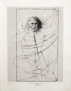 A Scientist Studying Orion - Original etching handsigned and numbered