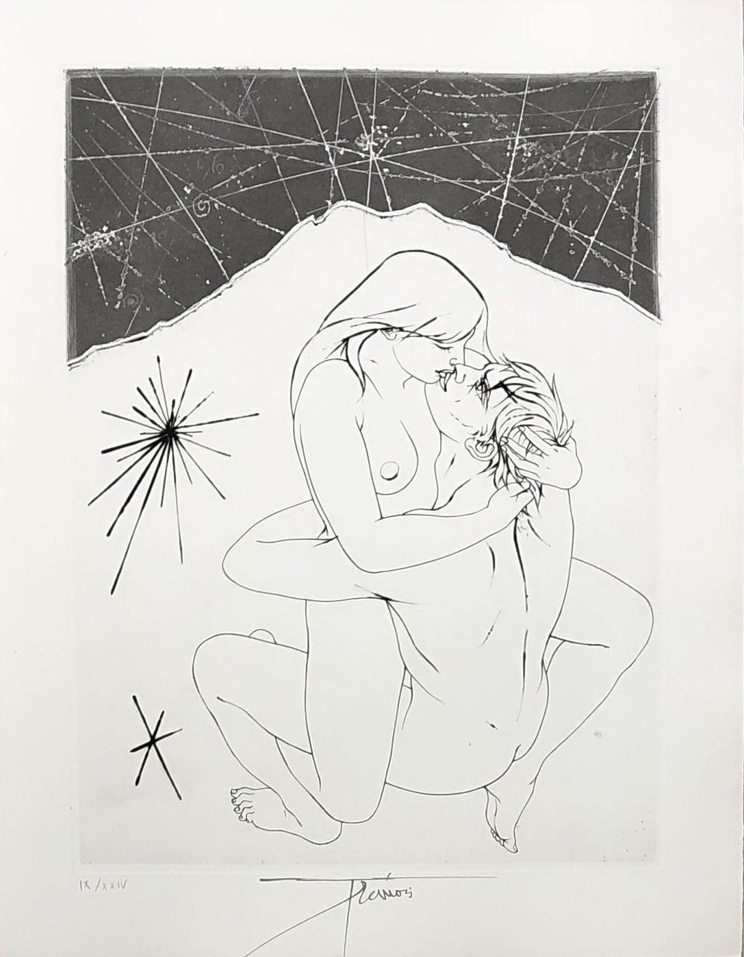 Beautiful Woman on a Man - Original etching handsigned and numbered