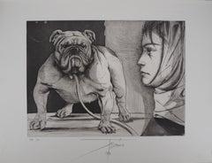 Bulldog and Woman - Original  Handsigned Etching