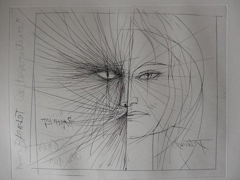 Pierre-Yves Trémois Figurative Print - Cat Woman - Original Etching