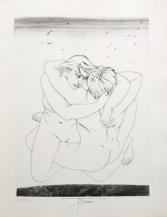 Couple Embraced - Original etching handsigned and numbered