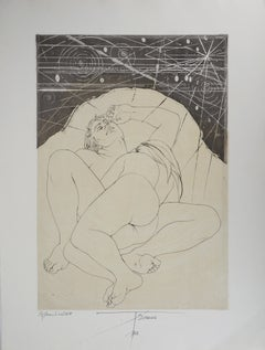 Couple Under the Stars - Original Signed Etching, 1968