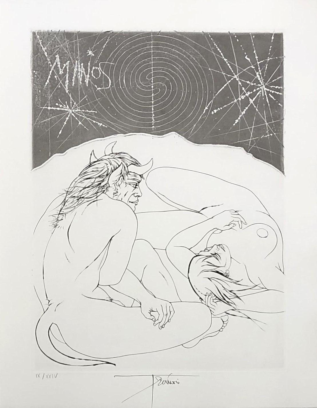 Minos and A Naked Woman - Original etching handsigned and numbered