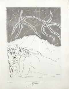 Woman Looking In The Mirror - Original etching handsigned and numbered