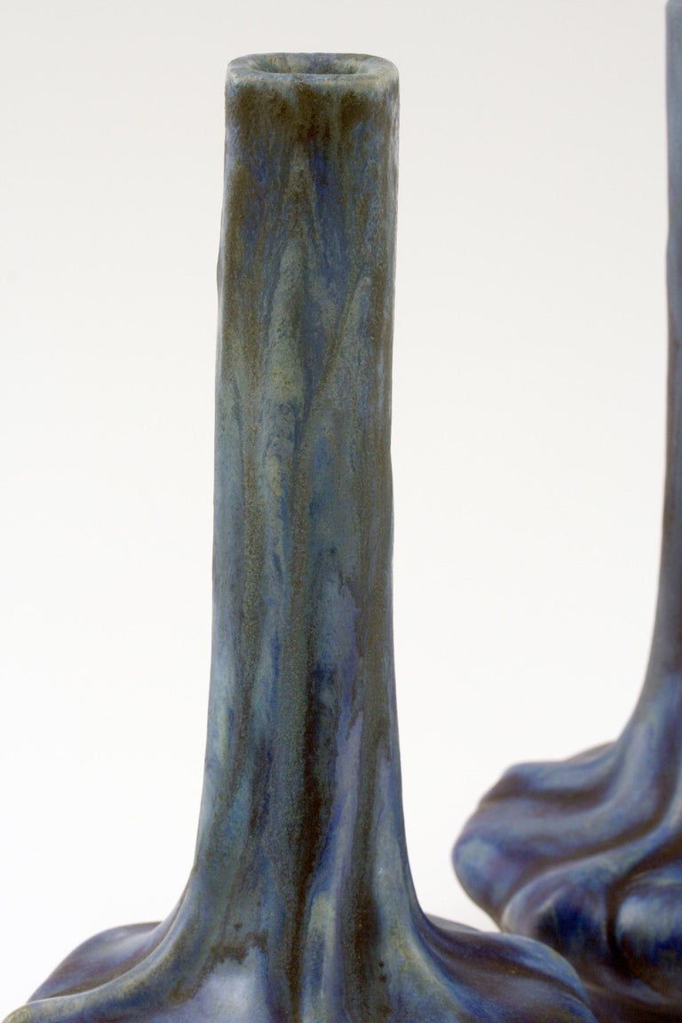 Art Nouveau Pierrefonds French Pair of Crystalline Glazed Art Pottery Vases, circa 1910 For Sale