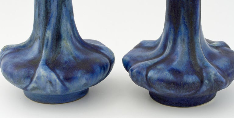 Pierrefonds French Pair of Crystalline Glazed Art Pottery Vases, circa 1910 For Sale 3
