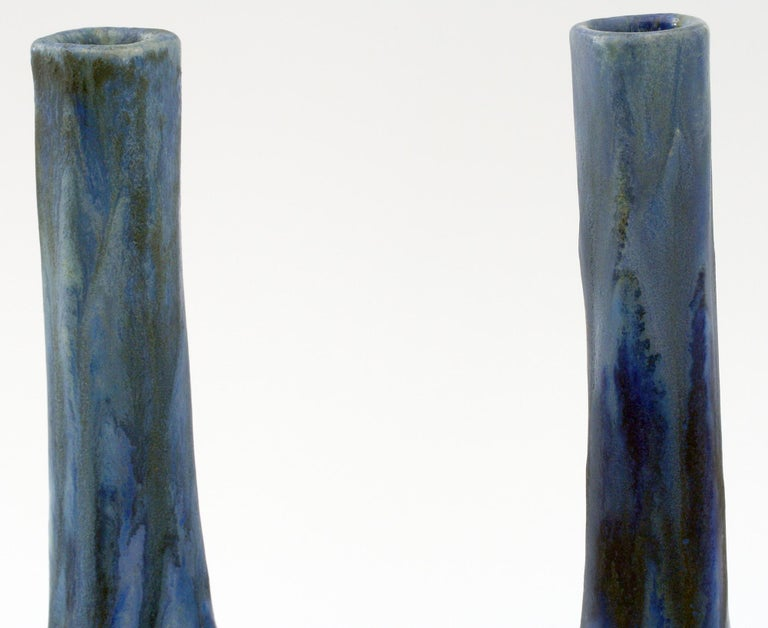 Pierrefonds French Pair of Crystalline Glazed Art Pottery Vases, circa 1910 For Sale 4