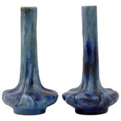 Pierrefonds French Pair of Crystalline Glazed Art Pottery Vases, circa 1910