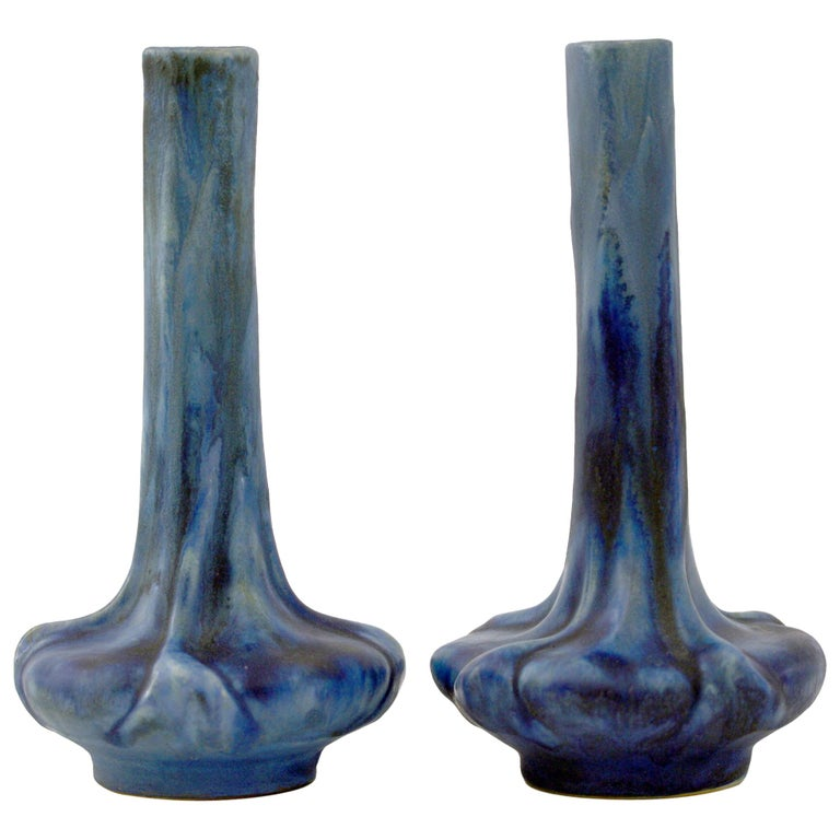 Pierrefonds French Pair of Crystalline Glazed Art Pottery Vases, circa 1910 For Sale