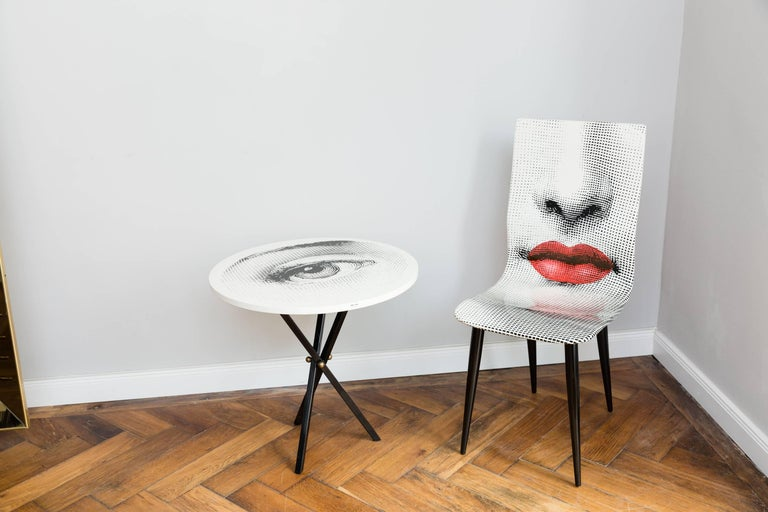Pierro Fornasetti Bocca chair, hand-painted, two faces (nose and red mouth) front and backside, signed with the label on the bottom of the chair and on the backside, N.1/2006, Fornasetti, Milano, Made in Italy. Very good condition, no scratches of