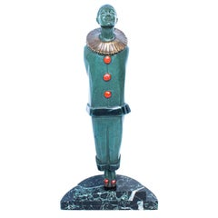 """""""Pierrot"""" Art Deco Bronze Figure of a Pantomime Character by Marcel Bouraine"""