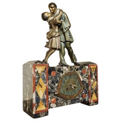 Pierrot French Art Deco Clock on Marble Base