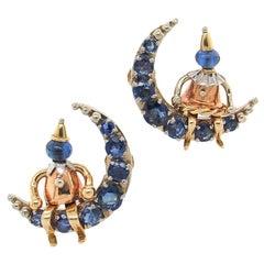 Pierrot on the Moon Sapphire Earrings