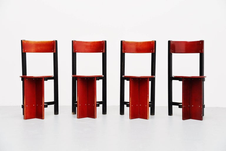 Here for a rare set of four Bastille chairs designed by Piet Blom for Twente Institute of technology, 1964. Piet Blom is better known by his cubic houses in Rotterdam and Helmond, designed in the 1980s. This example of the Bastille chair comes