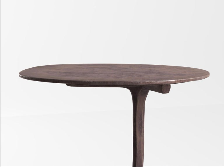 Hand-Carved Piet Boon Klink side table in Dark Bronze For Sale