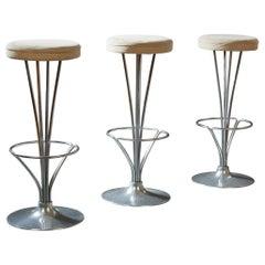 Piet Hein: Three Scandinavian Modern Bar Stools in Steel and Suede, Denmark 1961