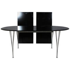 Piet Hein & Bruno Mathsson Dining Table with 2 Extension Leafs Super Elipse